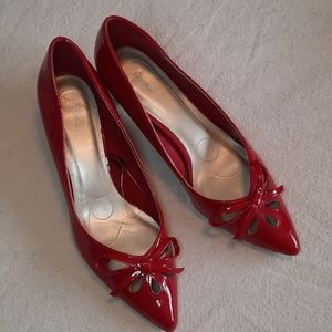 GEORGE candy apple red low heels